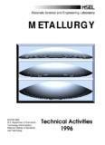 Materials Science and Engineering Laboratory METALLURGY
