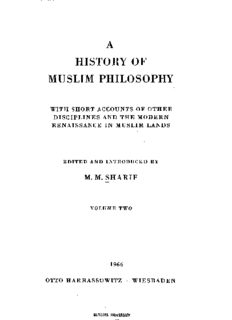 A history of Muslim philosophy: With short accounts of other disciplines and the modern renaissance in Muslim lands-Vol II