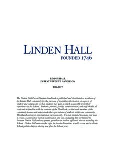 LINDEN HALL PARENT/STUDENT HANDBOOK 2016-2017 The Linden Hall Parent/Student ...