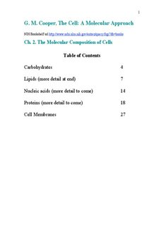 G. M. Cooper, The Cell: A Molecular Approach