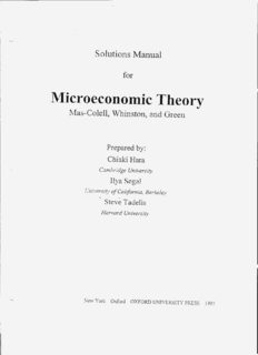 Microeconomic Theory - - Solutions Manual for Mas-Colell