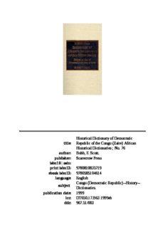 Historical dictionary of Democratic Republic of the Congo (Zaire)