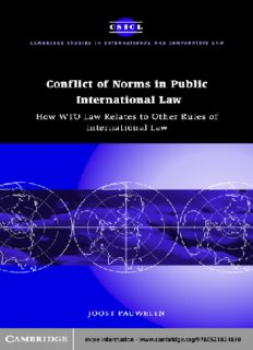 Conflict of Norms in Public International Law: How WTO Law Relates to other Rules of International Law