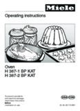 Operating instructions Oven H 387-1 BP KAT H 387-2 BP KAT