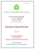 FDST 318 - acharya ng ranga agricultural university