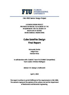 Cube Satellite Design, Raimundo Onetto, Holger Paas, Homero Perez