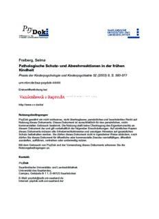 Fraiberg, Selma Pathologische Schutz- und Abwehrreaktionen in der frühen Kindheit