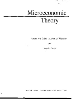 Microeconomic Theory Andreu Mas-Colell Michael D