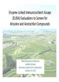 Enzyme-Linked Immunosorbent Assays (ELISA) Evaluations - Water