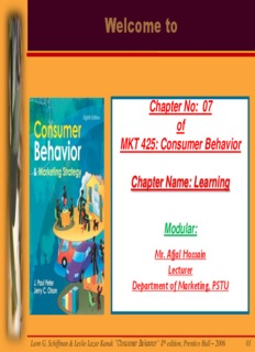 """Leon G. Schiffman & Leslie Lazar Kanuk """"Consumer Behavior"""""""