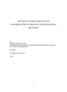 the twenty years' crisis 1919-1939 an introduction to the study of international relations