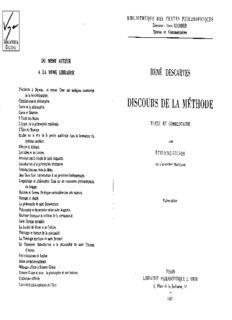 Discours de la méthode. Texte et commentaire par Etienne Gilson