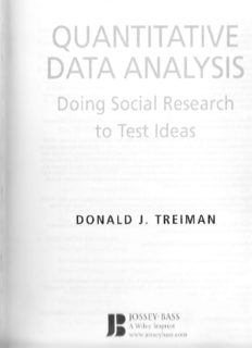 Quantitative Data Analysis: Doing Social Research to Test Ideas (Research Methods for the Social Sciences)