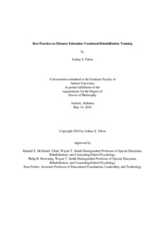 Best Practices in Distance Education Vocational Rehabilitation Training by Joshua S. Tilton A ...