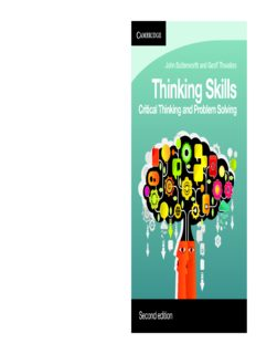 Thinking Skills. Critical Thinking and Problem Solving