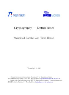 Cryptography — Lecture notes Mohamed Barakat and Timo Hanke