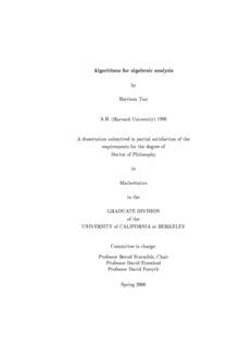 Algorithms for algebraic analysis by Harrison Tsai A.B. (Harvard