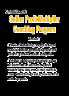 Clayton Makepeace's Online Profit Multiplier Coaching Program