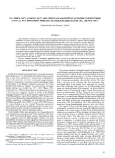 19. Lithology, Mineralogy, and Origin of Serpentine Muds Recovered from Conical and Torishima ...