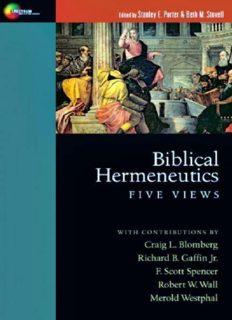 Biblical hermeneutics : five views