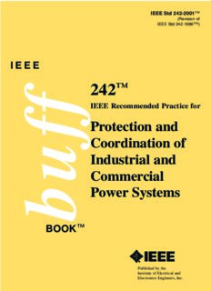 IEEE STD 242-2001 Recommended Practice for Protection and Coordination of Industrial and Commercial Power Systems