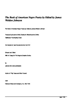 The Book of American Negro Poetry by Edited by James Weldon Johnson