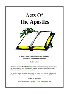 Acts Of The Apostles - Executable Outlines - Free sermon outlines