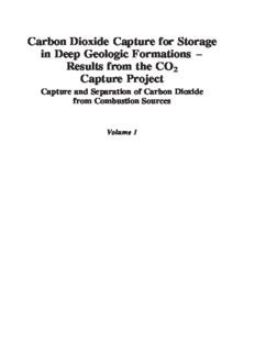 Carbon Dioxide Capture for Storage in Deep Geologic Formations - Results from the CO² Capture Project: Vol 1 - Capture and Separation of Carbon Dioxide ... and Verification (Co2 Capture Project)