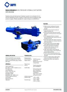 Olga-H/Olgas-H Hydraulic Actuators, Biffi