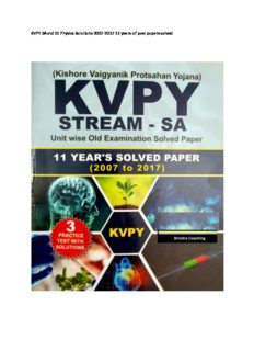 KVPY SA std 11 Physics Solutions 2007-2017 11 years of past papers Chapter wise Topic wise solved