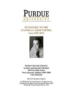 INVENTORY TO THE STANISLAV GROF - Purdue University