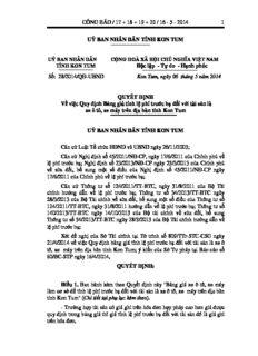 Quyết định số 28/2014/QĐ-UBND, về việc Quy định Bảng giá tính lệ