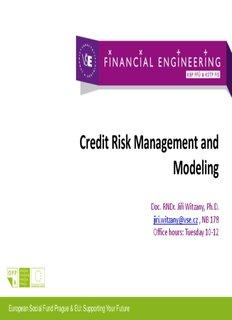 Credit Risk Management and Modeling
