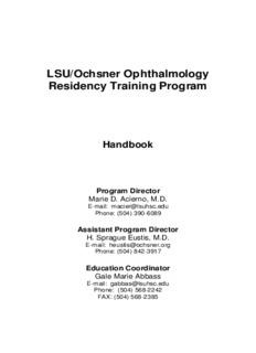 LSU/Ochsner Ophthalmology Residency Training Program
