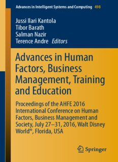 Advances in Human Factors, Business Management, Training and Education: Proceedings of the AHFE 2016 International Conference on Human Factors, Business Management and Society, July 27-31, 2016, Walt Disney World®, Florida, USA