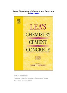 Lea's Chemistry of Cement and Concrete, Fourth Edition
