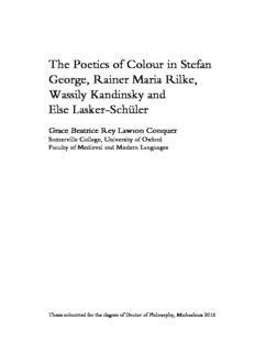 The Poetics of Colour in Stefan George, Rainer Maria Rilke, Wassily Kandinsky and Else Lasker ...