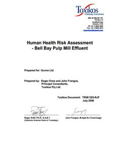 Human Health Risk Assessment - Bell Bay Pulp - Gunns Pulp Mill