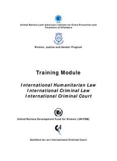 International Humanitarian Law International Criminal Law