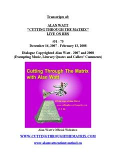 Transcripts of: ALAN WATT
