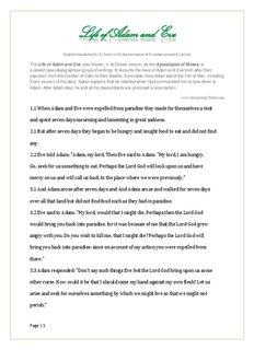 THE LIFE OF ADAM AND EVE .pdf download - Lost Books Bible