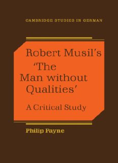 Robert Musil's 'The Man Without Qualities': A Critical Study