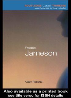 Fredric Jameson (Routledge Critical Thinkers)