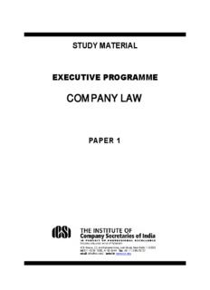 company law - The Institute of Company Secretaries of India, The ICSI