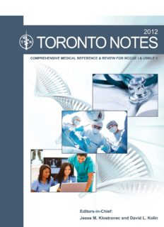 The Toronto notes 2012 : comprehensive medical reference and review for the Medical Council of Canada Qualifying Exam, part 1 and the United States Medical Licensing Exam, step 2