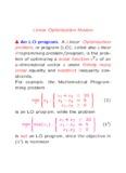 Linear Optimization Models An LO program. A Linear Optimization