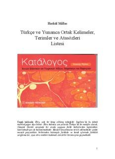 Türkçe ve Yunanca Ortak Kelimeler, Terimler ve - Herkül Millas
