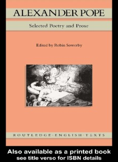 Alexander Pope: Selected Poetry and Prose