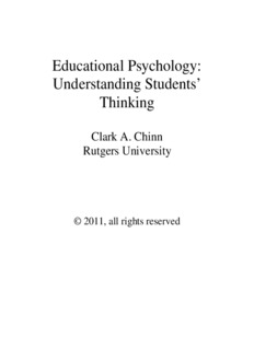 Educational Psychology : Understanding Student's Thinking