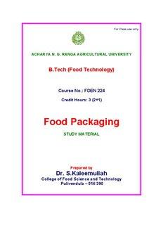 Food Packaging - acharya ng ranga agricultural university